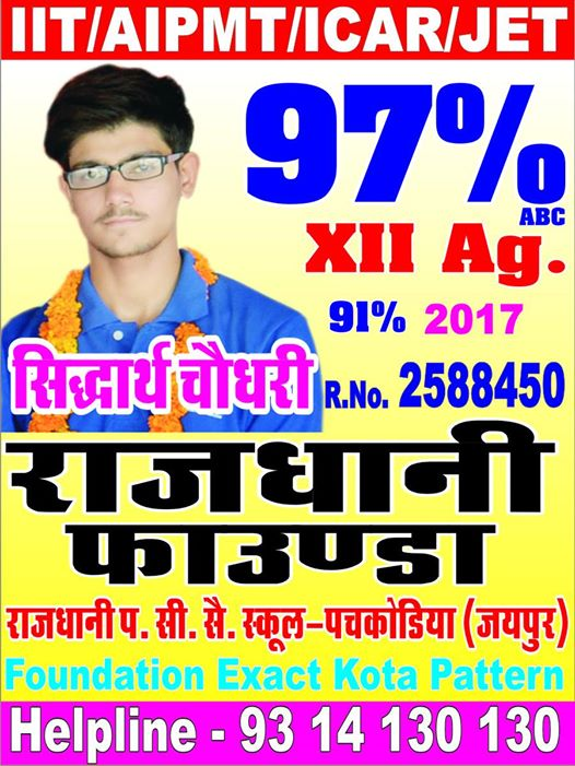 Shidharth Choudhary Scored 97% in XII Ag.